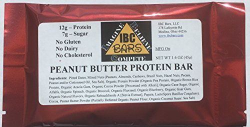 IBC Peanut Butter Protein Bar, Case of 12 Bars — ALWAYS 100 Gluten, Dairy, Soy and Cholesterol FREE — Vegan and Non-GMO — 12g Protein – 7g Sugar – 158 Calories