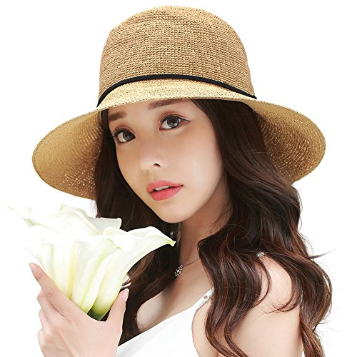 Siggi Womens Floppy Summer Sun Beach Straw Hats UPF Foldable Bucket Cloche Hat 56-59CM - 58 Size Hat