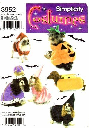 Simplicity 3952 Sewing Pattern Dog Costumes Pumpkin Santa Princess King Hot Dog Witch