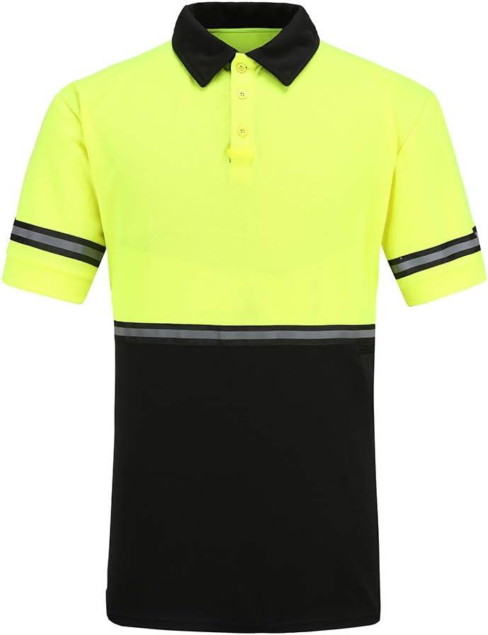 A-SAFETY High Visibility Polo Shirt Summer Cooling Hi Viz T-Shirt Work-wear Yellow 3XL
