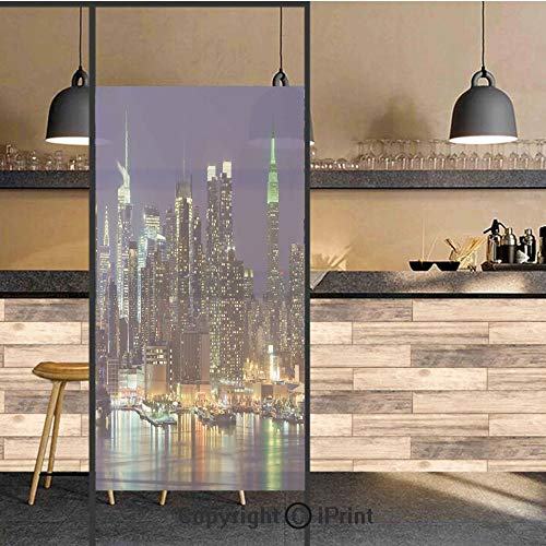 3D Decorative Privacy Window Films,NYC Midtown Skyline in Evening Skyscrapers Amazing Metropolis City States Photo,No-Glue Self Static Cling Glass film for Home Bedroom Bathroom Kitchen Office 24x48 I]()