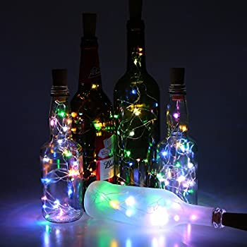 Wine Bottle Lights with Cork, Funria 6 Pack LED Cork Lights for Bottle,Copper Wire String Bottle Lights for DIY, Party, Decor, Christmas, Halloween, Wedding (Multi-colored)