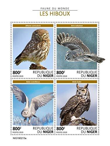 Niger - 2019 Owls on Stamps - 4 Stamp Sheet - NIG190213a