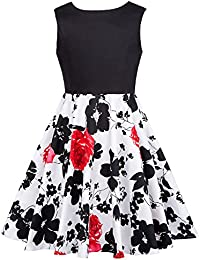 Girls Pleated Print Cotton A-Line Skirts Dresses