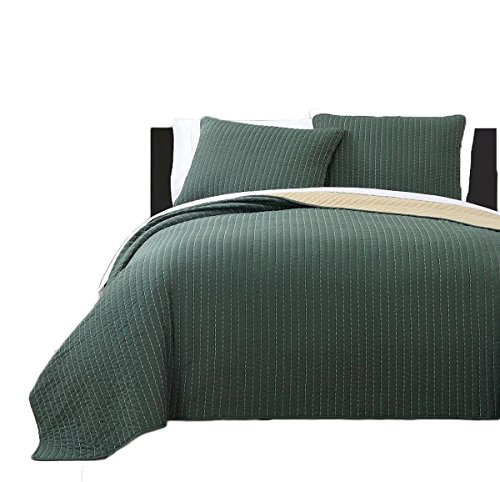 Royal Tradition Project Runway Microfiber Queen Size 3PC Reversible Coverlet Set, Olive with Gold ()