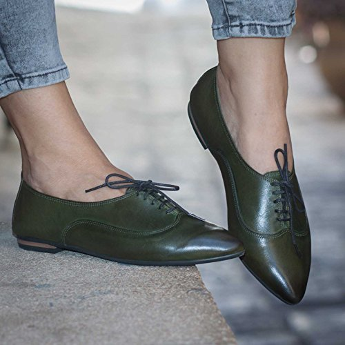 Green Women's Handmade leather Oxford Shoes by Bangi Shoes