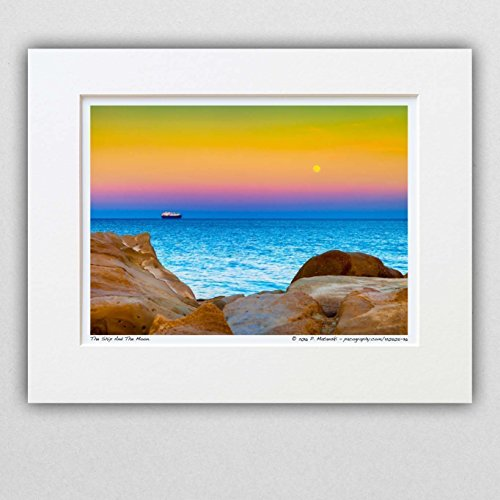 120505-36-the-ship-and-the-moon-11x14-matted-photograph-golden-hour-seascape-wall-art-decor