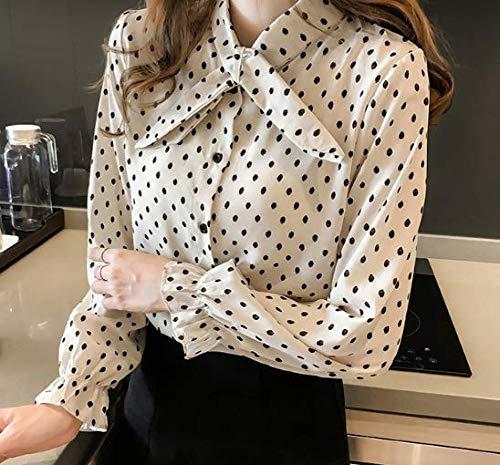 Da Tops Yxtzs Plus Xxl Magliette A Size M Print Lunghe Donna Camicia Maniche Pois rwrCq85