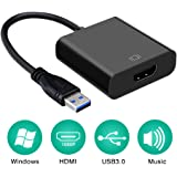 USB3.0 HDMI 変換アダプター USB HDMI 変換コネクター HDMI 変換 ケーブル 外付け ディスプレイ 増設 1080P高解像度 画像音声同時に出力 Windows10/8/7//XP 対応 (ブラック)