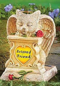 SOLAR ANGEL CAT MEMORIAL STATUE GRAVE STONE