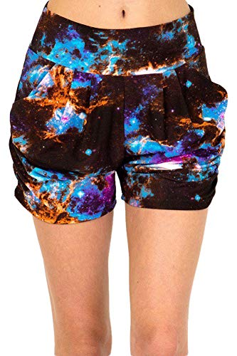 (iZZYZX Women's Regular Colorful Galaxy Tie Dye Printed Pleated Pockets Harem Shorts - L/XL)