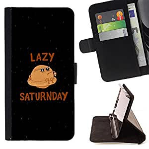DEVIL CASE - FOR Sony Xperia Z3 D6603 - Saturn Funny Planet Caricature Lazy Saturday Quote - Style PU Leather Case Wallet Flip Stand Flap Closure Cover