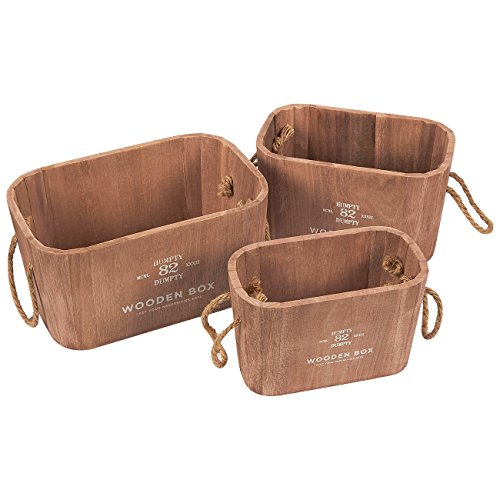 Wooden Buckets - 3-Piece Rustic Wooden Crates with Rope Handles - Wood Storage Bins - Various Sizes, Rectangular, Brown (Crate Storage Wooden)