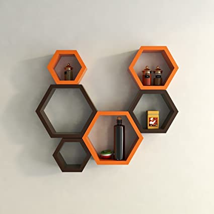 38bc16e76e DecorNation Hexagon Wall Shelf, Set of 6 (Orange and Brown): Amazon.in:  Home & Kitchen