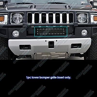 Fits 2003-2007 Hummer H2 Stainless Steel Bumper Black Mesh Rivet Grille #CL6580H
