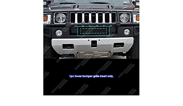 APS Compatible with 2003-2007 Hummer H2 Stainless Steel Bumper Black Mesh Rivet Studs Grille S18-H0856LC