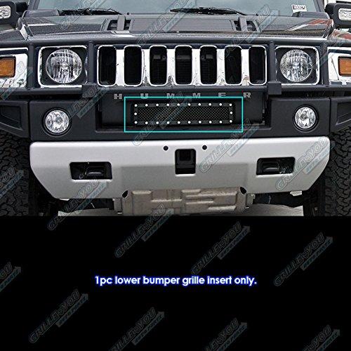 APS Fits 2003-2007 Hummer H2 Stainless Steel Bumper Black Mesh Rivet Studs Grille #CL6580H -
