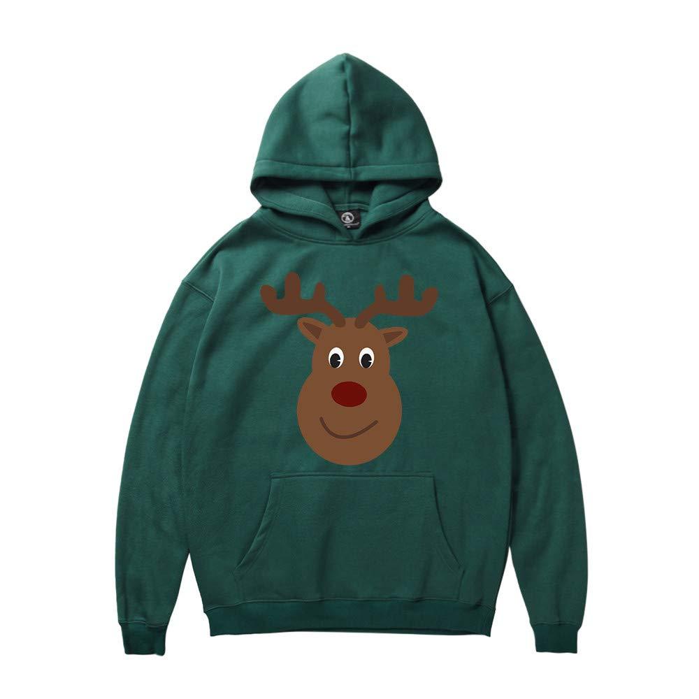 GREFER Mens Hooded Sweatshirt Winter Christmas Reindeer Print Long Sleeve Tops Blouse Green by GREFER