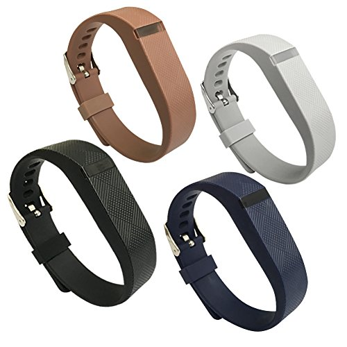 4PCS EPYSN Compatible Fitbit Flex Band,Silicone Replacement Wristband For Fitbit Flex Bracelet Sport Bands with Metal Watch Band Buckle Large/Small Grey-Black-Brown-Navy