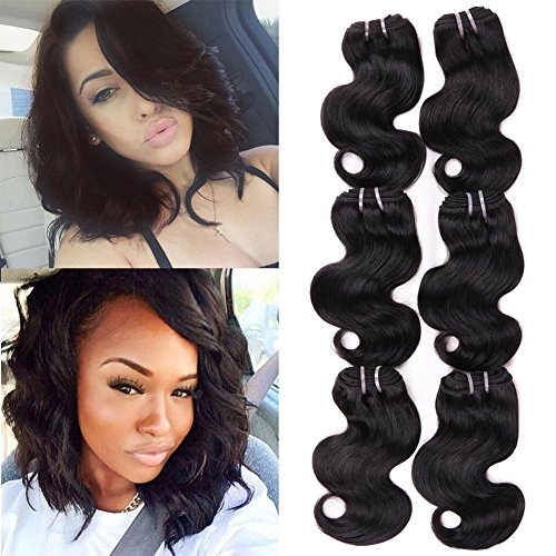 HANNE 6Pcs Brazilian Virgin Hair Body Wave 8 Inches Short Curly Hair Virgin Brazilian Hair Weaves...