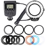 Hakutatz RF-550D 48 LEDS Macro LED Ring Flash Light Bundle Macro Photography with LCD Display Power Control, Adapter Rings and Flash Diffusers for Canon Nikon Olympus or other DSLR Cameras
