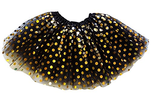 So Sydney Kids, Adult, or Plus Size Gold Polka Dot Tutu Skirt Halloween Costume (XXL (Extra Plus Size), Black) for $<!--$22.97-->