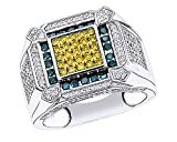 14K White Gold Over Sterling Silver Multicolor CZ Hip Hop Iced Out Square Rings (1.50 Cttw)