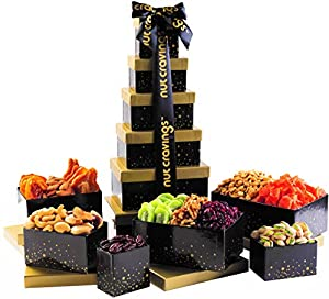 Holiday Nut and Fruit Gift Tower – Gourmet Mix of 12 Assorted Nuts & Dried Fruit Snacks in Individual Boxes – Large Bulk Variety Basket Set for Christmas, Holiday or Corporate Gift By Nut Cravings