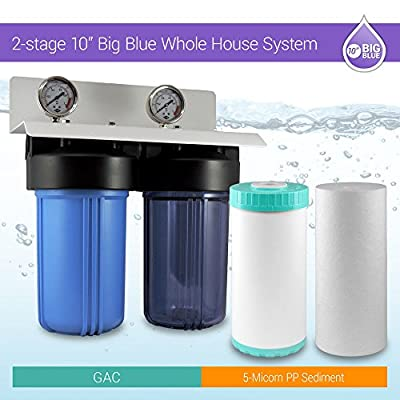 "Whole House Water Filtration System 10""x 4.5"" Municipal & Well Water 1"" ports"