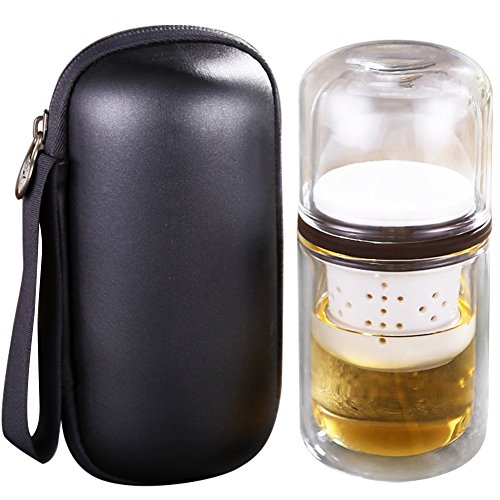 WINGOFFLY Portable All-in-One Travel Double Wall Glass Tea Cup Set with Infuser and Carrying Case Bag for Outdoors Picnic(Grey)