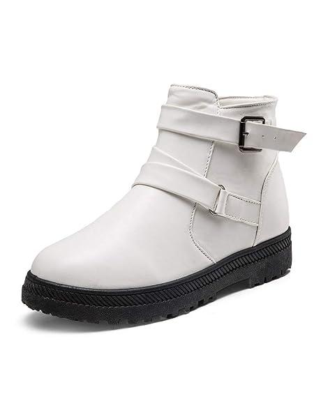 Botines cuña Militares para Mujer Otoño Botas Plataforma Calzado Dama Tallas Grandes Botas Biker de Nieve Botas Zapatos Moto Escolares Caliente Señora: ...