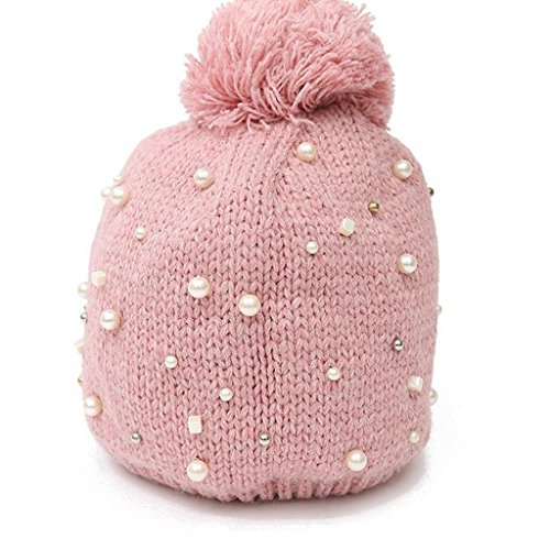 XY Fancy Winter Velvet Lined Fold Up Cable Knit Pearl Intersperse Beanie Hat Pink