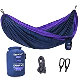 Browint Single Camping Hammock, 12 Colors, Lightweight & Unique 220T Parachute Nylon Portable Hammock, Best Outdoor Hammock for Backpacking, Camping, Hiking, Beach, Travel, Yard. 10' L x 5' W