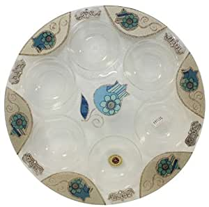 Glass Round Seder Plate in Blue Tones by Lily Art