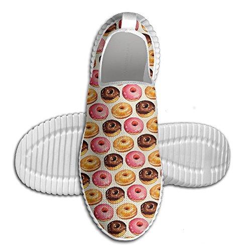 Ei-ei Chocolade Aardbei Op Smaak Gebrachte Donuts Dames Loafers Loopschoenen Ademend Mesh Outdoor Sport Wandelschoenen Wit
