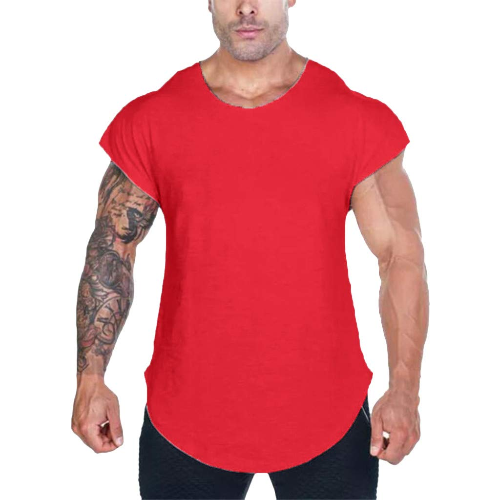 MISYAA T Shirts for Men, Solid Muscle T Shirt Breathable Sport Tank Top Basic Sweatshirt Tee Masculinity Gifts Mens Tops Red