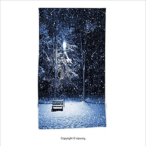 Vipsung Microfiber Ultra Soft Hand Towel-Winter View Of A Bench And Lantern At The Park In Dark Snowy Night Windy Storm Print Dark Blue Silver For Hotel Spa Beach Pool Bath