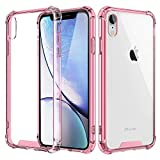 MoKo Compatible iPhone XR Case, Crystal Clear Reinforced Corners TPU Bumper + Anti-Scratch Hybrid Rugged Transparent Hard Panel Cover Fit Apple iPhone XR 6.1 inch 2018 - Clear Pink & Clear