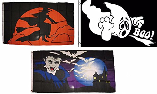 ALBATROS 3 ft x 5 ft Happy Halloween 3 Pack Flag Set #211 Combo Banner Grommets for Home and Parades, Official Party, All Weather Indoors Outdoors]()