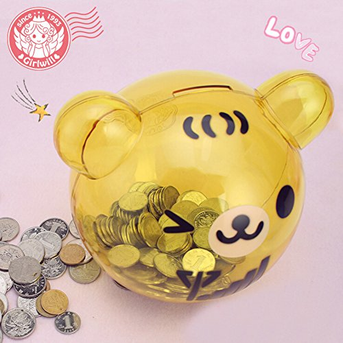 Girlwill crystal clear piggy bank yellow bear shaped coin for 4 compartment piggy bank