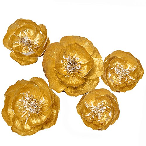 Ling's moment Large Paper Flower, 5 X Gold Flowers, Handcrafted Paper Flowers, Giant Crepe Paper Flowers, Paper Flower Decoration for Wedding Backdrop Nursery Gold Party Bridal Shower Archway Decor by Ling's moment