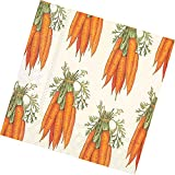 """Custom Made & Disposable {6.5"""" Inch} 20 Count of 3 Ply Mid-Size Size Square Food & Beverage Napkins, Made of Soft Absorbent Paper w/ Rustic Carrot Bunch Garden Party Style {Green, Orange, & White}"""