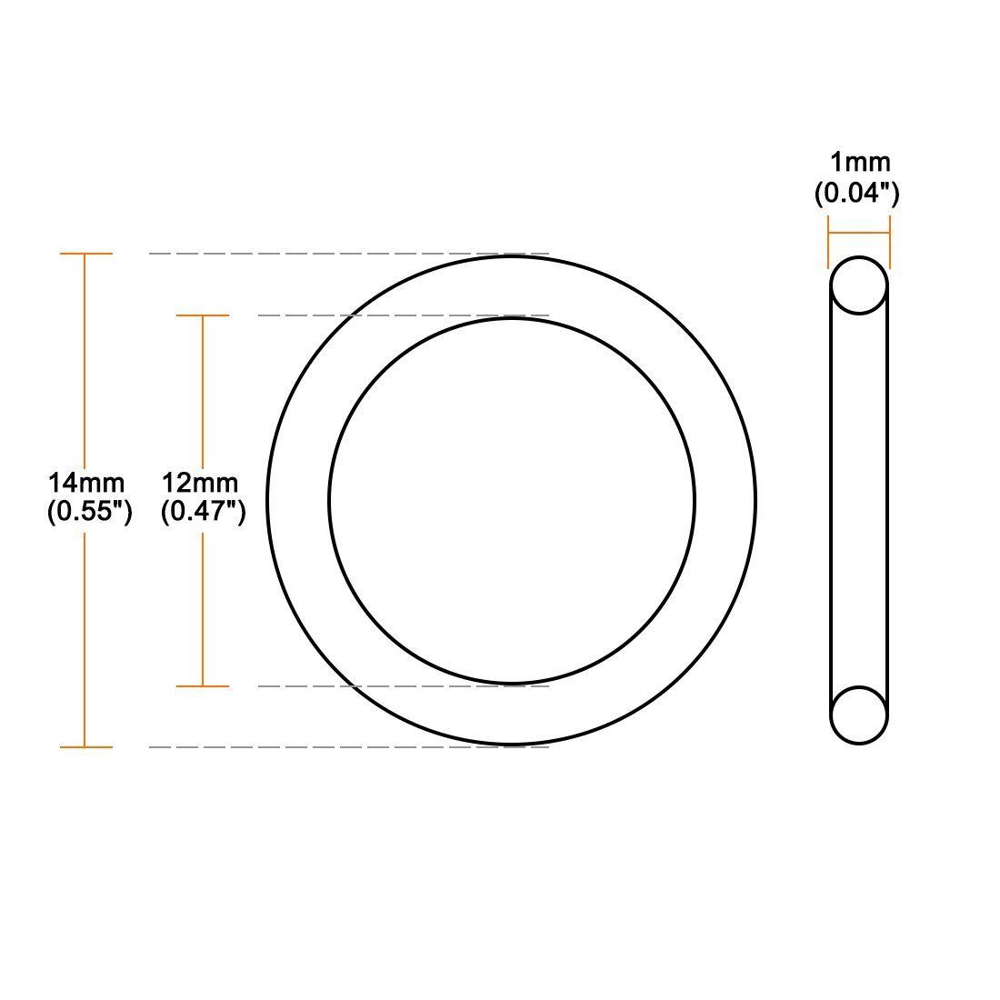 Pack of 50 1mm Width sourcingmap O-Rings Nitrile Rubber 6mm OD Round Seal Gasket 4mm Inner Diameter