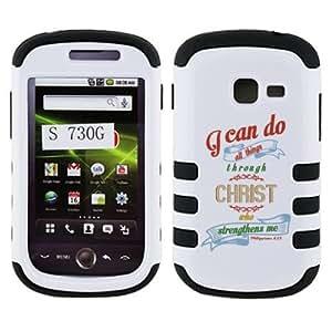 Fincibo (TM) Samsung Galaxy Discover S730G Centura S738C Hybrid Dual Layer Hard Crystal Skin Gel Snap On Protector - Christian Bible Verse Philippians 4:13, White/ Black by icecream design