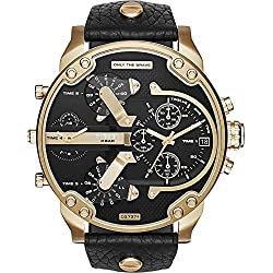 Diesel Watches Mr. Daddy 2.0 Two Hand Leather Watch