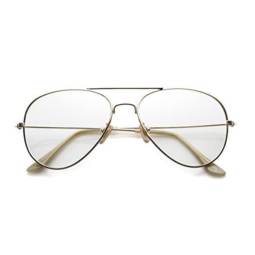 69f73aa5dff Nickel Plated Tear Drop Wire Frame Basic Metal Clear Lens Aviator Glasses  (Gold Clear)