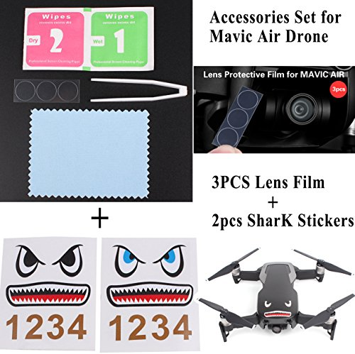 Price comparison product image Hobby-Ace Accessories Set for Mavic Air, 3Pcs Camera Lens Cover Film + 2pcs Waterproof Sticker Decal, Protector Guard for Mavic Air Drone