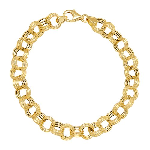Just Gold Triple Rolo Link Chain Bracelet in 14K Gold (Gold Rolo Bracelet)