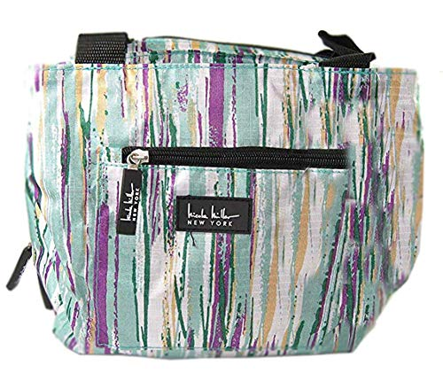 """Nicole Miller of New York Insulated Striped 11"""" Lunch Tote- Belair/Sea Foam"""