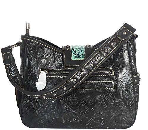 Hobo TQ Pocket Medium amp; Side Fringe Trinity w Black Tooling Leather Ranch AwPqxI
